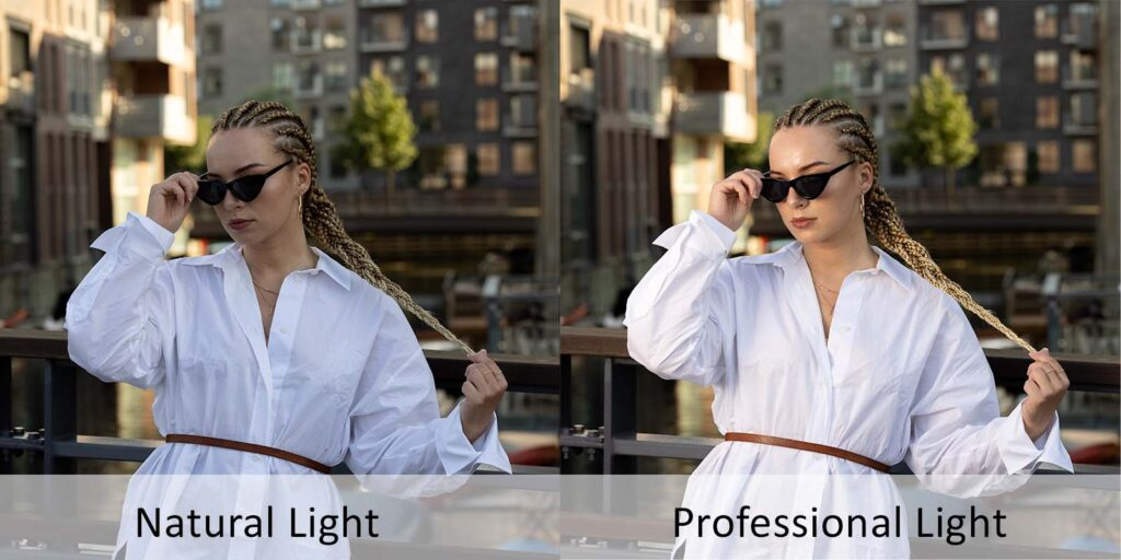 Image showing the difference in natural versus professional light. A model is show to the left in a diffuse light. On the right we se the very same pose but captured with additional light thus giving a more pleasing look.